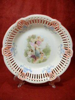 Antique German Pierced Rim Cherub Portrait Bowl
