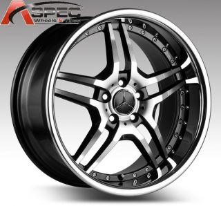 19 Staggered Euromag EM2 Black Wheel Fit Mercedes C300 C350 E450 E550