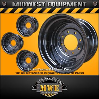 12x16 5 Titan Skid Steer Rims Wheels Black 8 Lug