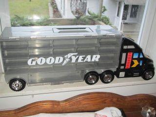 Goodyear Semi Truck Car Hauler Carrying Case 42 Cars Hot Wheels