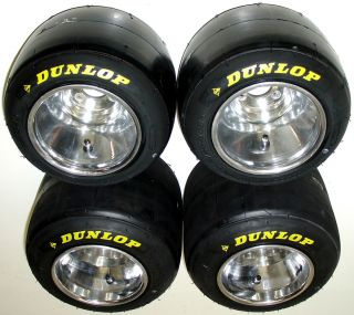 Set of New Dunlop Racing Go Kart Tires Used Polished Wheels