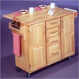 Home Styles Natural Wood Kitchen Island Cart Drop Leaf Wheels