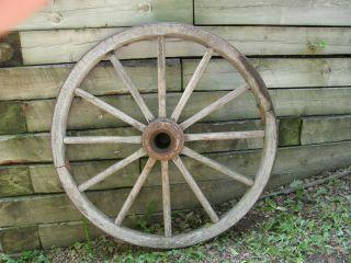 Antique Wood Wagon Wheels w Iron Rims 40 Diameter Marked 90 Triangle