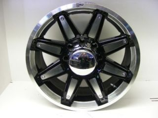 New Set of 4 20 Amp Black Chrome 8 Lug Wheels Ford
