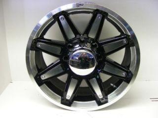 New Set of 4 20 Amp Black Chrome 8 Lug Wheels Ford