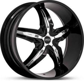 20 x7 5 Status Dystany S822 Black w Chrome Wheels Rims