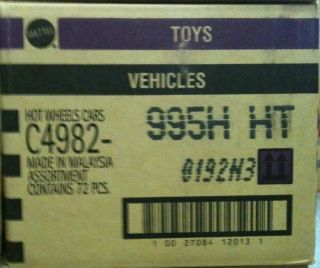 HOT WHEELS 2012 Factory Sealed H Case C4982 995HHT Worldwide 72 Cars