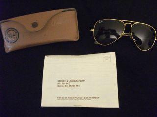 Original Vintage B L Ray Ban Aviator Sunglasses Gold Rims 58 14