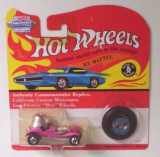 Red Baron Pink Hot Wheels Car Vintage Collection w Button on Card LE