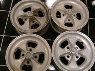 Aluminum 14 inch 4 Lug 4 1 2 Bolt Crager Mag Wheels 4 Total VGC