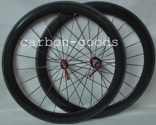 Carbon Fiber 56mm Road Bike Tubular Wheels Wheelset Red Hubs