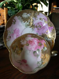 Vintage Hand Painted Nippon Jeweled Cup Saucer
