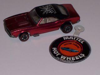 Original Hot Wheels Redline Custom Camaro Red from 1967 Near Mint