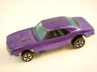 1968 Hot Wheels   CUSTOM CAMARO   Redline   HK   #6208   Purple