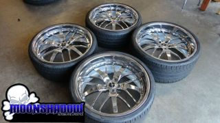 SAVINI SV 17 CHROME 22 WHEELS RIMS MERCEDES S CLASS S550 PIRELLI PZERO