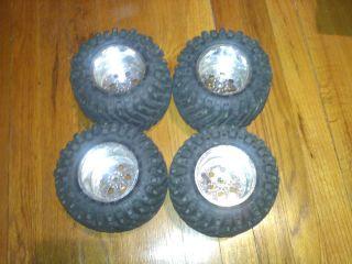 Maxx Tires Mounted on Chrome Rims Wheels Tmaxx Revo 3 2 14mm T