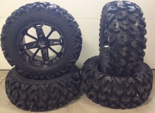 MSA Elixir Black 14 ATV Wheels 26 Rip Saw R T Tires Sportsman RZR