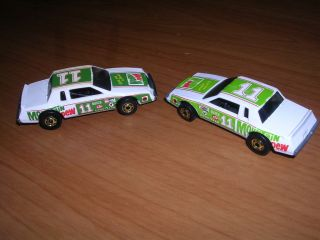 Hot Wheels 2 Racing Stockers Mountain Dew 1983 Dark Light Green