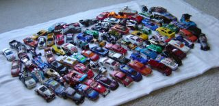 Large Lot of 93 Hot Wheels Die Cast Cars Trucks NASCAR Asst Vehicles