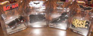 DC Comics Collector Batman Hot Wheels Cars Complete Set 4 NRFP