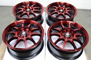 4x114 3 Red 4 Lug Effect Wheels Spectra Integra Aveo Vigor Yaris Rims