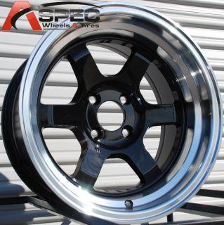 15x8 Rota Grid V Wheels 4x100 Rim 0mm Royal Black