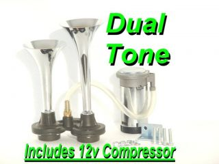 Dual Trumpet Air Horn Kit Includes 12V Compressor Super Loud Fun K w