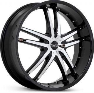 22 x7 5 Status Fang S820 Black w Chrome Wheels Rims