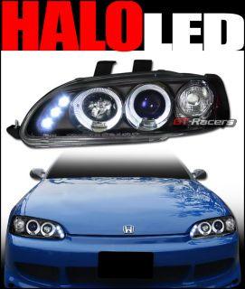 BLACK LED HALO RIMS PROJECTOR HEAD LIGHTS CORNER SIGNAL 1992 1995