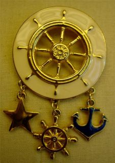 Enamel Nautical SHIP Wheel Dangling Anchor Star Gold Tone