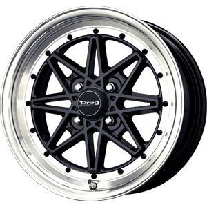 New 16x7 4x100 Drag Dr 20 Black Wheels Rims