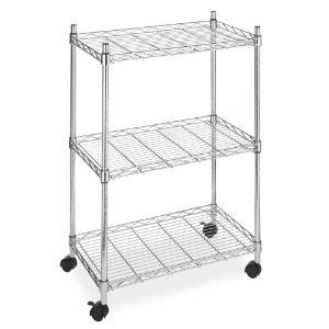 Whitmor Wire Metal Shelving with Wheels Rolling Garage