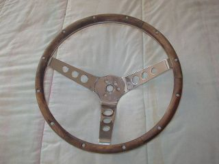Vintage 13 1 2 inch 3 Spoke Wood Steering Wheel