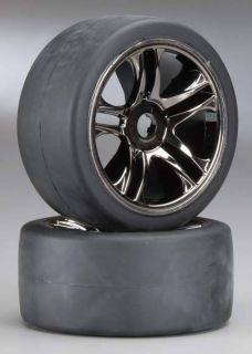 XO 1 Super Car Assembled Black Chrome Rear Wheels Tires TRA6477