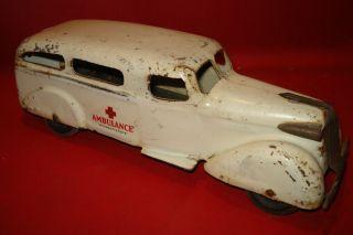 Toys Pressed Steel Ambulance Car 340 Opening Rear Wood Wheels