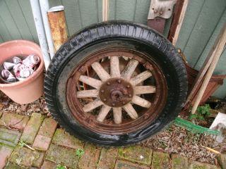 Antique Wood Spoke Rim Wheel Firestone Auto Wheel with Brake Drum