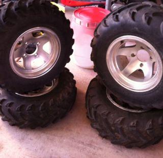 Yamaha 400 Big Bear 4x4 Tires And Rims Complete Set Douglas 12x7 10