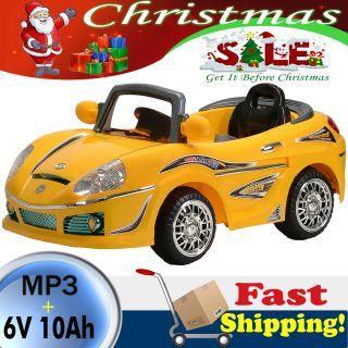Yellow Kids Ride On Car 6v Power Remote Control Wheels  RC 6V 10Ah