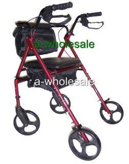 inch Wheels Folding Rollator Rolling Walker with Nylon Bag Shopping