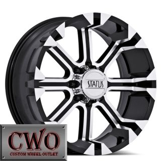 22 Black Status Cannon Wheels Rims 8x165 1 8 Lug Dodge Chevy GMC 2500