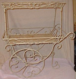 Tier Wrought Iron Patio Flower Tea Cart w Wheels Fancy Scrolls