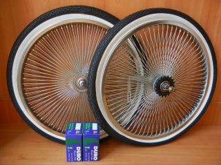 Lowrider Bicycle 140 Spoke Wheel Package Rims Tires and Tubes Chopper