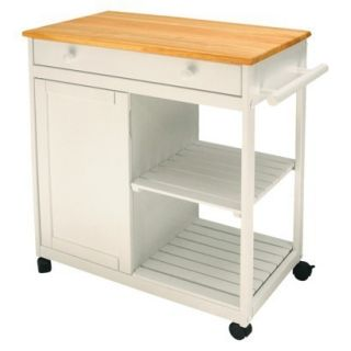 Microwave Prep Table Rolling Cart on Wheels w Shelf Cabinet