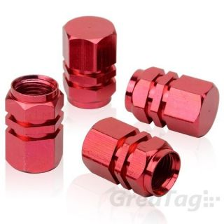 New 4pcs Red Tire Rims Wheels Valve Stem Caps Air Dust Cover for All