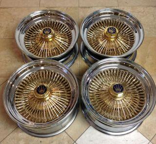 15 Wire Wheels Rims Standard 100 Gold Spokes Set of 4