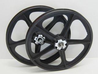 80s Hutch SKYWAY T A TUFF WHEEL II Metal Flange BMX Mag Wheels Black