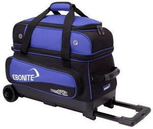 Ebonite Transport 2 Ball Rolling Bowling Bag with Wheels Blue