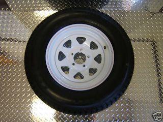 15 5 Lug Trailer Rim Tire Wheel White SPK 225 D Ply