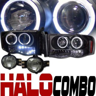 BLK HALO RIMS DRL LED PROJECTOR HEADLIGHTS SIGNAL FOG LAMP SMOKE 02 05