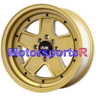 15 15x8 XXR 532 Flat Gold Wheels Rims Deep Dish Lip 4x114 3 Old School